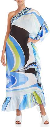 Emilio Pucci Printed Asymmetrical Silk Caftan Dress