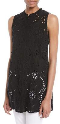 Johnny Was Marieta Sleeveless Long Eyelet Tunic, Plus Size