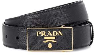Prada Leather logo plaque belt