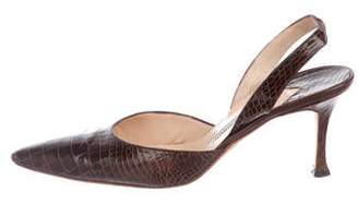 Manolo Blahnik Carolyn Crocodile Pumps