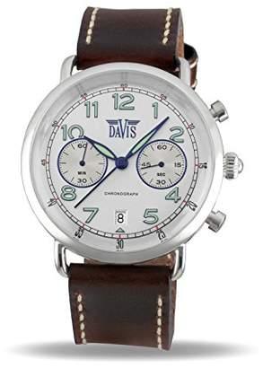 24b4b366e83 Davis 2122 - Mens Pilot Watch Retro Chronograph Grey Dial Date Brown  Leather Strap