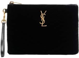 Saint Laurent velvet monogram quilted clutch bag