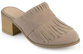 Co Brinley Womens Stacked Heel Faux Suede Fringe Mules