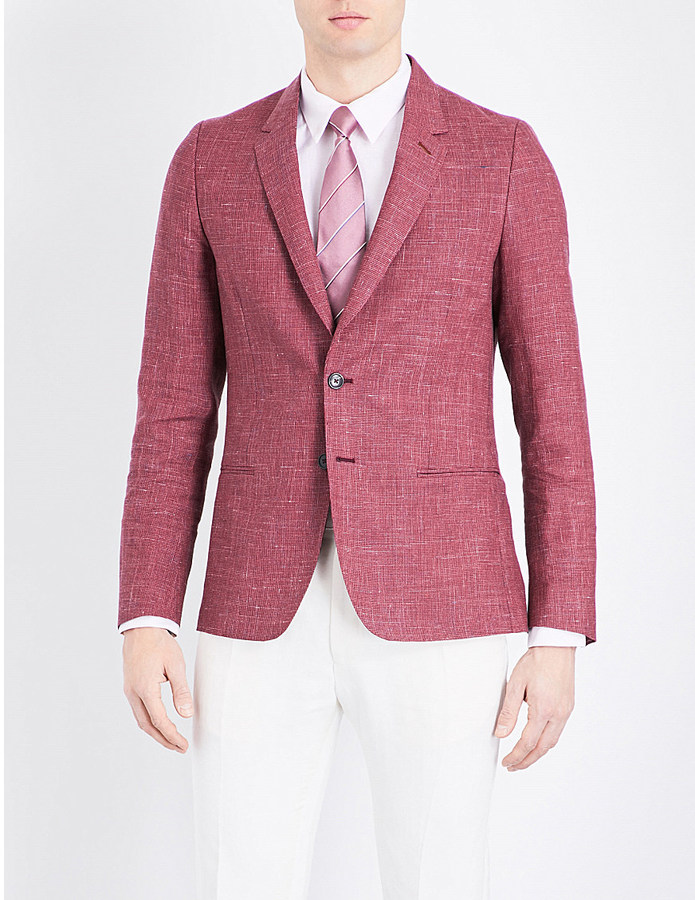 Paul SmithPaul Smith Micro-houndstooth soho-fit linen and wool-blend jacket
