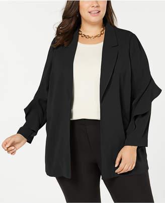 Alfani Plus Size Flounce-Sleeve Jacket