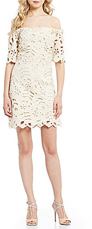 Eva FrancoEva Franco Emery Off-The-Shoulder Lace Shift Dress