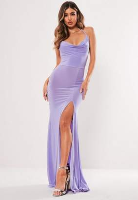 Missguided Lilac Slinky Cowl Neck Split Detail Maxi Dress