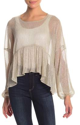 re:named apparel Delfina Drop Shoulder Sheer Metallic Blouse