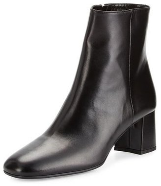 Prada Leather Square-Toe 55mm Ankle Boot, Black (Nero) $795 thestylecure.com