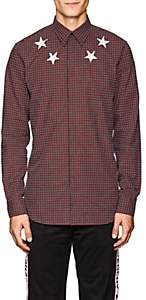 Givenchy Men's Star-Motif Checked Cotton Poplin Shirt - Md. Red