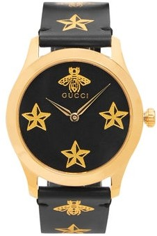 Gucci G Timeless Bee And Star Print Leather Watch - Mens - Black Multi