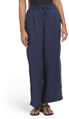 Linen With Mesh Cover-up Beach Pants