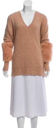 Sally LaPointe Cashmere Fur-Trimmed Sweater Cashmere Fur-Trimmed Sweater