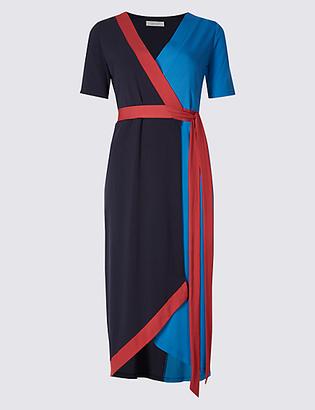 Per Una Colour Block Short Sleeve Wrap Midi Dress