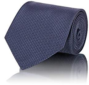 Brioni Men's Chevron-Weave Silk Necktie - Navy