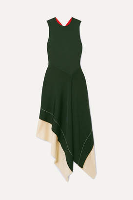 Victoria Beckham Color-block Asymmetric Stretch-knit Midi Dress - Emerald