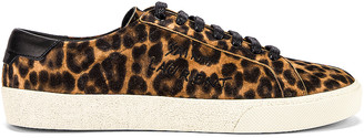 Saint Laurent Leopard Sneakers in Natural & Black | FWRD