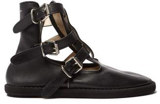 MM6 MAISON MARGIELA Buckled Leather Ankle Boots - Womens - Black