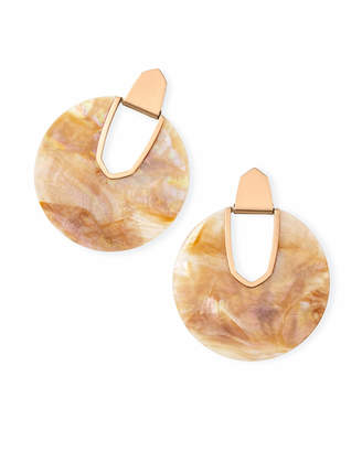 Kendra Scott Diane Rose Gold Statement Earrings in Brown Mother of Pearl