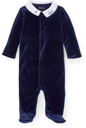 Ralph Lauren Train Embroidery Velvet Footie Pajamas, Size 3-9 Months