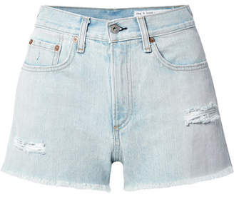 Rag & Bone Justine Distressed Denim Shorts - Light denim