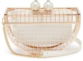 Cecilia Ma 'Moon Cage' faux pearl brass clutch