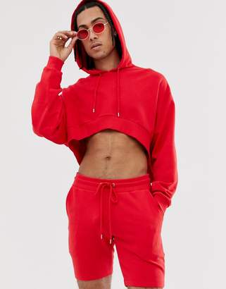 Asos Design DESIGN crop oversized tracksuit with hood and shorts in red