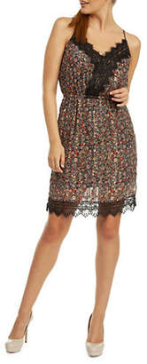 Dex Floral Lace-Trimmed Faux Wrap Dress