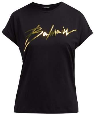 Balmain Logo Applique Cotton T Shirt - Womens - Black Gold