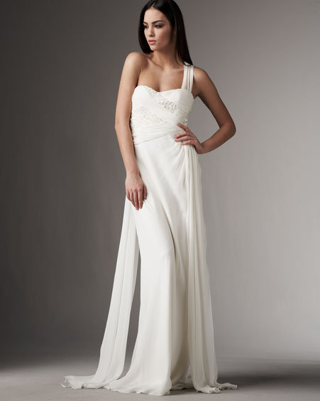 Marc Bouwer Glamit! One-Shoulder Sequined Chiffon Gown
