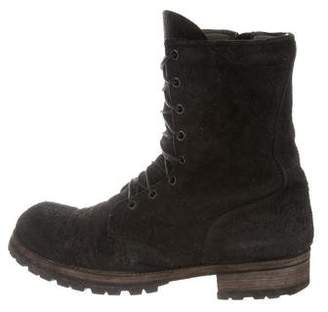 Rick Owens Distressed Combat Boots