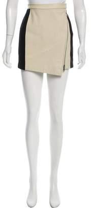 Rebecca Minkoff Leather & Wool Mini Skirt