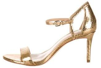 MICHAEL Michael Kors Metallic Embossed Leather Ankle Strap Sandals