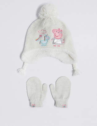 cc139aefefd Marks and Spencer Kids Peppa Pig Trapper Hat   Mittens Set