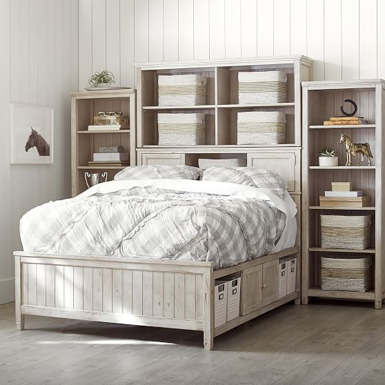 Beadboard Storage Bed Super Set 2.0, Queen, Water-Based Weathered White, Excel - LSF