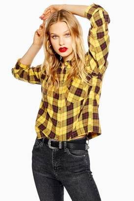 Topshop Womens Washed Boxy Check Shirt - Yellow