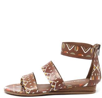 Django & Juliette Heaps Tan tribal Sandals Womens Shoes Casual Sandals-flat Sandals