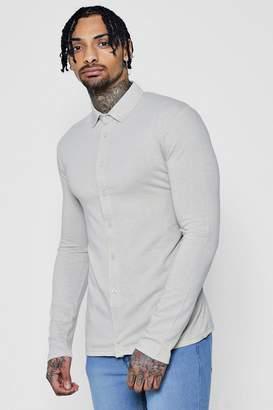boohoo Muscle Fit Long Sleeve Jersey Shirt