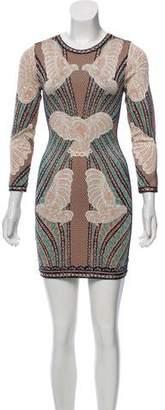 Herve Leger Zoe Cloqué Long Sleeve Dress