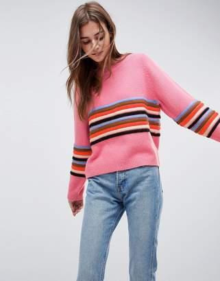 Asos Design Jumper with Ripple Stitch Stripe