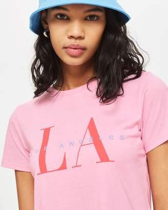 Topshop 'LA' Neat Slogan T-Shirt