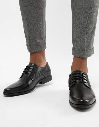 Asos Derby Shoes In Black Faux Leather