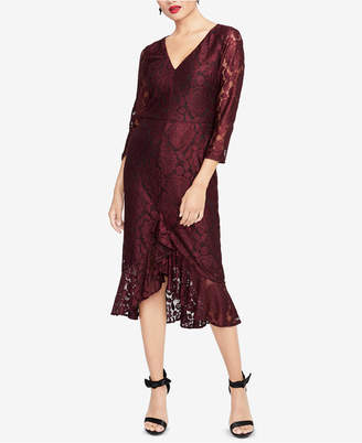 Rachel Roy Lace Flounce-Hem Midi Dress