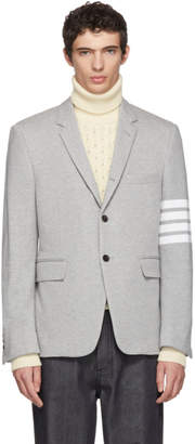 Thom Browne Grey Jersey Four Bar Classic Blazer