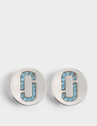 Marc Jacobs Double J Pave Studs in Silver and Light Turquoise Brass