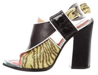 Kenzo Leather Peep-Toe Sandals