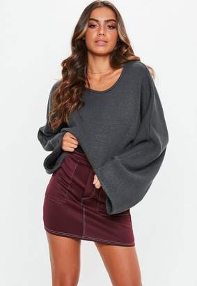 Missguided Tall Grey Extreme Wide Sleeve Crop Sweater