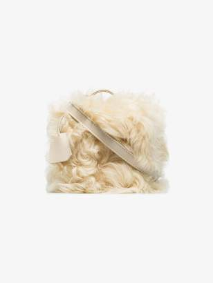 Natasha Zinko white shearling box bag