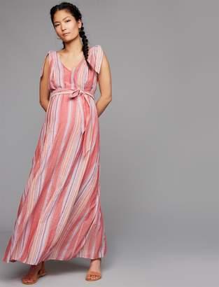 A Pea in the Pod Tie Shoulder Striped Maternity Maxi Dress