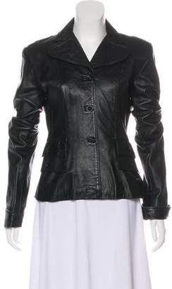Anna Sui Leather Button-Up Jacket